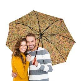 """Зонт-трость двусторонний с деревянной ручкой """"Сандал"""" - арт, узор, абстракция, фигуры, текстура"""