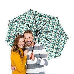 """Зонт-трость двусторонний с деревянной ручкой """"Круги"""" - круг"""