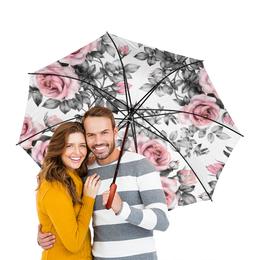 """Зонт-трость двусторонний с деревянной ручкой """"Цветы"""" - цветы, розы"""