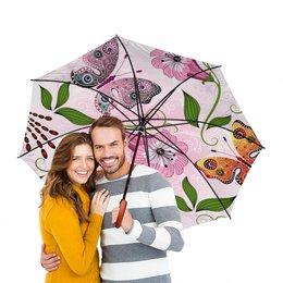 """Зонт-трость двусторонний с деревянной ручкой """"Летние цветы"""" - бабочки, лето, цветы"""