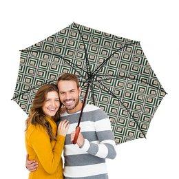 """Зонт-трость двусторонний с деревянной ручкой """"Квадраты"""" - желтый, розовый, синий, квадрат, фон"""