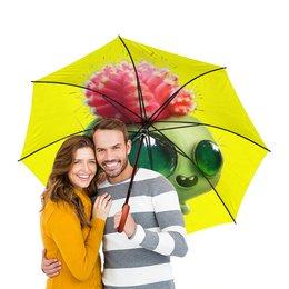 """Зонт-трость двусторонний с деревянной ручкой """"Funny cactus"""" - юмор, кактус"""