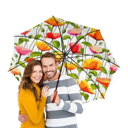 """Зонт-трость двусторонний с деревянной ручкой """"Маки """" - цветок, лист, акварель, маки, стебель"""