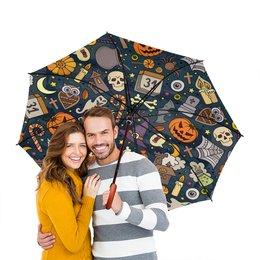 """Зонт-трость двусторонний с деревянной ручкой """"Хэллоуин"""" - череп, хэллоуин, тыква, летучая мышь"""