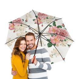 """Зонт-трость двусторонний с деревянной ручкой """"Розы   """" - цветы, лист, шиповник, бутон, букет"""