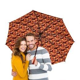 """Зонт-трость двусторонний с деревянной ручкой """"Дикая малина"""" - красный, ягоды, малина, сладкий, аромат"""