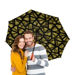 """Зонт-трость двусторонний с деревянной ручкой """"Empty"""" - пятиугольники, камфуляж, стелс"""