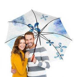 """Зонт-трость двусторонний с деревянной ручкой """"Акварели. Голубой период"""" - позитив, весна, нежность, акварель, sweetspring"""