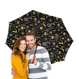 """Зонт-трость двусторонний с деревянной ручкой """"Олени"""" - новый год, олени"""