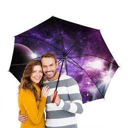 """Зонт-трость двусторонний с деревянной ручкой """"Космос"""" - космос, вселенная, звёзды, планеты"""