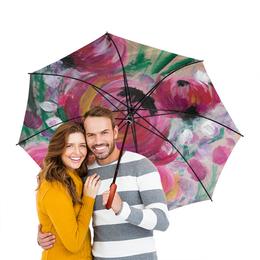 """Зонт-трость двусторонний с деревянной ручкой """"Полевые цветы"""" - лето, цветы, весна, розовый, подарок"""