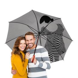 """Зонт-трость двусторонний с деревянной ручкой """"Серый"""" - оригинальный, стильный, минимализм"""