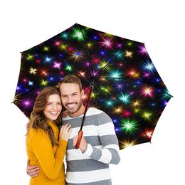 """Зонт-трость двусторонний с деревянной ручкой """"Fireworks"""" - новый год, рождество, яркая, новогодняя"""
