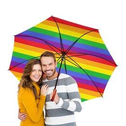 """Зонт-трость двусторонний с деревянной ручкой """"РАДУГА"""" - осень, зонт, веселое настроение"""