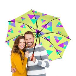 """Зонт-трость двусторонний с деревянной ручкой """"Треугольник 1"""" - треугольник, желтый, голубой, фиолетовый, пурпурный"""