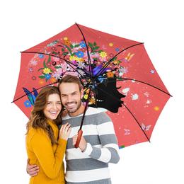 """Зонт-трость двусторонний с деревянной ручкой """"Девушка"""" - бабочки, девушка, цветы, птицы"""