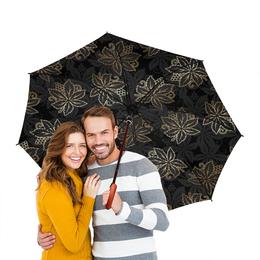 """Зонт-трость двусторонний с деревянной ручкой """"Листья"""" - листья, природа"""