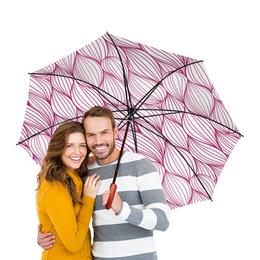 """Зонт-трость двусторонний с деревянной ручкой """"Текстиль"""" - узор, узоры, рисунок, ткань, текстильный"""