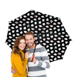 """Зонт-трость двусторонний с деревянной ручкой """"Трикстер"""" - мозаика, пастель"""