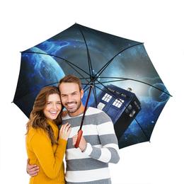 """Зонт-трость двусторонний с деревянной ручкой """"ТАРДИС"""" - космос, doctor who, tardis, доктор кто, тардис"""