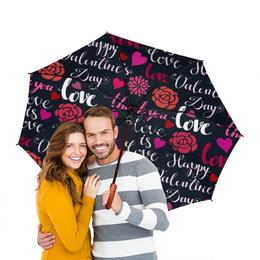 """Зонт-трость двусторонний с деревянной ручкой """" День Св. Валентина"""" - день св валентина, валентинка, сердца, любовь"""