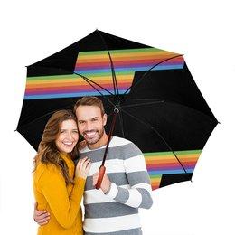 """Зонт-трость двусторонний с деревянной ручкой """"РАДУГА"""" - солнце, осень, зонт"""