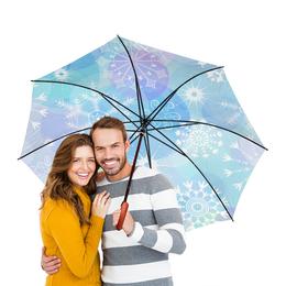 """Зонт-трость двусторонний с деревянной ручкой """"Снежинка"""" - новый год, снежинки"""