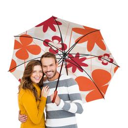 """Зонт-трость двусторонний с деревянной ручкой """"Цветочный"""" - цветы, узор, стиль, орнамент, цветочный"""
