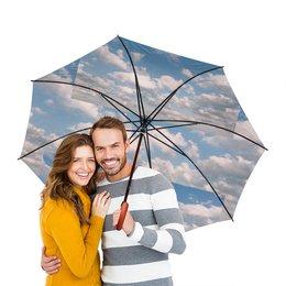 """Зонт-трость двусторонний с деревянной ручкой """"Облока."""" - лето, природа, зонт, мужской, женский"""