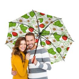 """Зонт-трость двусторонний с деревянной ручкой """"земляника"""" - стиль, весна, красота, ягоды, яркость"""