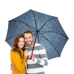 """Зонт-трость двусторонний с деревянной ручкой """"краска разводы. серый. """" - настроение, серый цвет, разводы краской"""