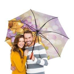 """Зонт-трость двусторонний с деревянной ручкой """"Цветы"""" - лето, цветы"""