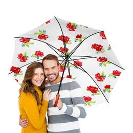 """Зонт-трость двусторонний с деревянной ручкой """"Зонт-трость Красные цветы"""" - красные цветы, лето, красота, цветы"""