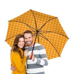 """Зонт-трость двусторонний с деревянной ручкой """"Солнечный"""" - орнамент, абстракция"""