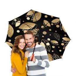 """Зонт-трость двусторонний с деревянной ручкой """"Золото"""" - золото, листья"""