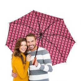 """Зонт-трость двусторонний с деревянной ручкой """"Страстные сердца"""" - любовь, сердечки"""