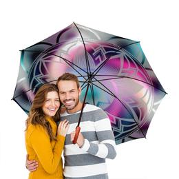 """Зонт-трость двусторонний с деревянной ручкой """"радуга"""" - стиль, красота, яркость, фэнтези, цветочный узор"""