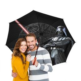 """Зонт-трость двусторонний с деревянной ручкой """"Star Wars - Darth Vader&Death Star"""" - космос, фантастика, дарт вейдер, звезда смерти"""