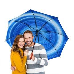 """Зонт-трость двусторонний с деревянной ручкой """"Голубой"""" - арт, дизайн, абстракция"""