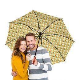 """Зонт-трость двусторонний с деревянной ручкой """"Графика. Желтые цветы"""" - арт, цветы, орнамент, природа"""