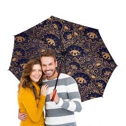 """Зонт-трость двусторонний с деревянной ручкой """"Дивные узоры"""" - цветы, узор, 8 марта, красивый, день св валентина"""