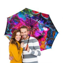 """Зонт-трость двусторонний с деревянной ручкой """"Abstract Raster 372"""" - яркий, свет, абстрактный, цветной, эмоция"""