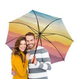 """Зонт-трость двусторонний с деревянной ручкой """"Без названия"""" - небо, природа, закат, горы, пейзаж"""