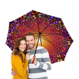 """Зонт-трость двусторонний с деревянной ручкой """"цвета"""" - прикольный"""