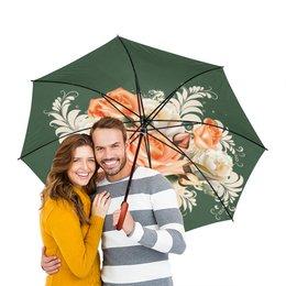 """Зонт-трость двусторонний с деревянной ручкой """"Чайная роза"""" - цветы, розы"""