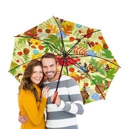 """Зонт-трость двусторонний с деревянной ручкой """"Осень"""" - листья, осень, природа"""