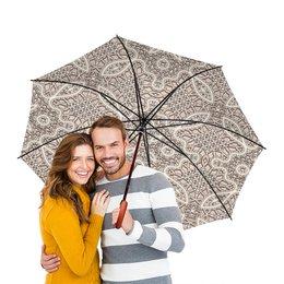 """Зонт-трость двусторонний с деревянной ручкой """"Ажурный"""" - 8 марта, орнамент, подарок, кружево, ажур"""