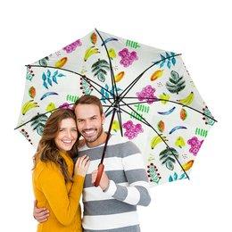 """Зонт-трость двусторонний с деревянной ручкой """"Фрукты"""" - лето, цветы, фрукты, листья, банан"""