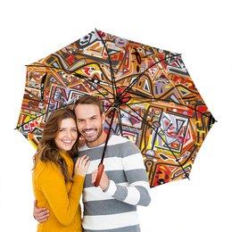 """Зонт-трость двусторонний с деревянной ручкой """"Оранжевый дом."""" - арт, узор, абстракция, фигуры, текстура"""