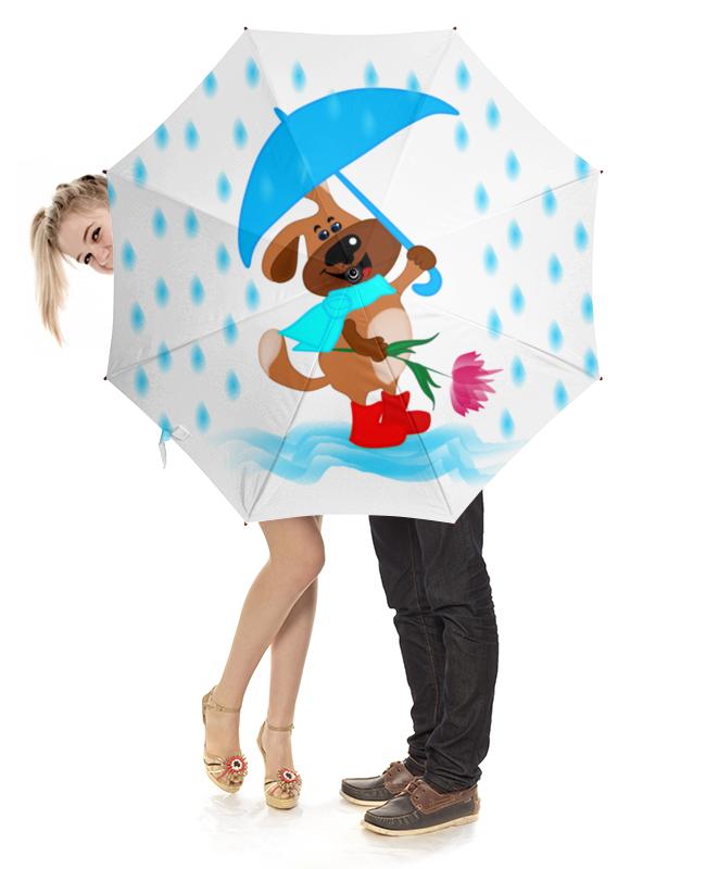 Зонт-трость с деревянной ручкой Printio Пес с зонтом и цветком арт дизайн подарочный набор открытка с ручкой самой фееричной тебе